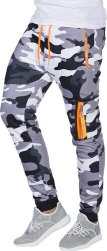 Ombre Clothing Pánské tepláky s kapsami na zip Frankie maskáčové šedé e14ac5dac4