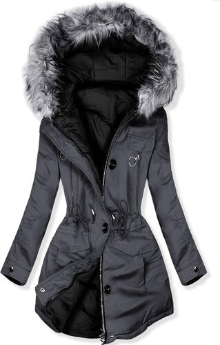 8556b91331 Butikmoda Kifordítható téli parka kabát - szürke és fekete színű ...