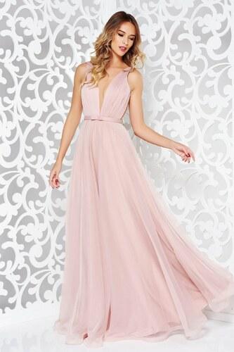 Rózsaszínű StarShinerS alkalmi tűll ruha masni díszítéssel v-dekoltázzsal e142d0b707