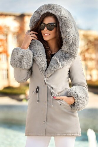MODANOEMI Teplá luxusná zimná sivá bunda s bohatou kožušinou - Glami.sk 54e3c32afaf