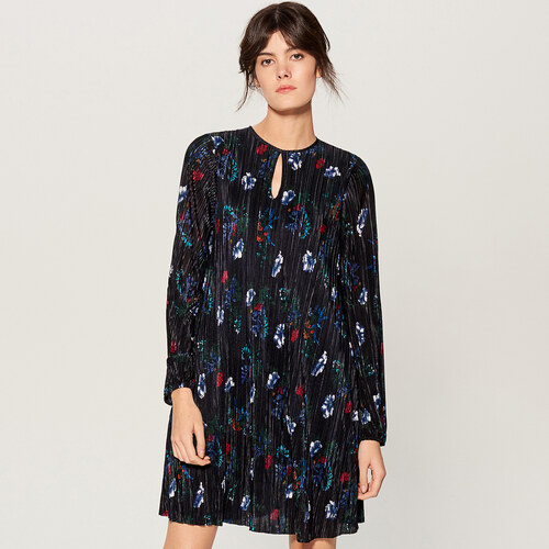 Mohito - Plisované květované šaty - Modrá - Glami.cz a3d381cca90