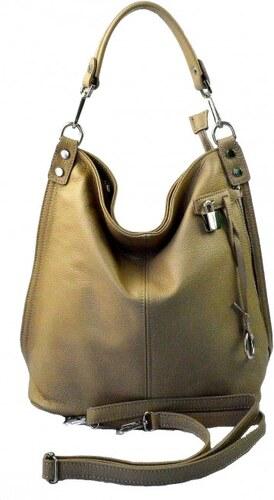 9f9f598955 Kožená luxusní béžová taupe kabelka přes rameno denice VERA PELLE 26084
