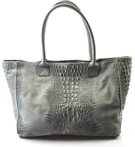 Kožená veľká krokodílí sivá taška na rameno jeana VERA PELLE - Glami.sk 5fe609d0780