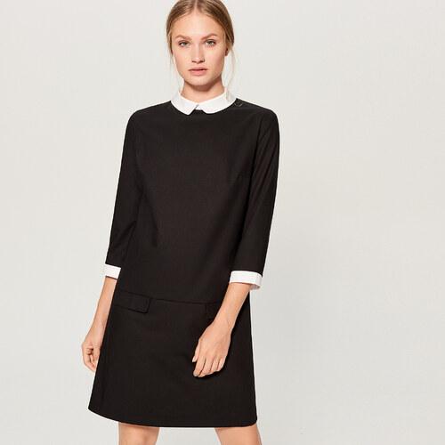 Mohito - Šaty s kontrastním límečkem - Černý - Glami.cz 6594b747b35
