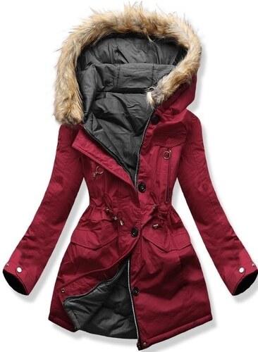 MODOVO Dámska zimná bunda s kapucňou B-746 bordovo-grafitová - Glami.sk 5014d1e5a96