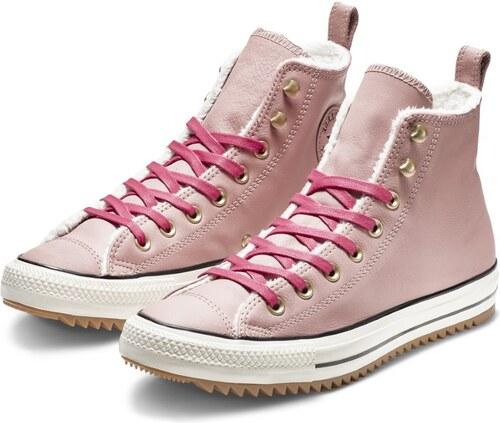 Converse růžové kožené tenisky Chuck Taylor All Star Hi Teak - 40 ... 596f85421b