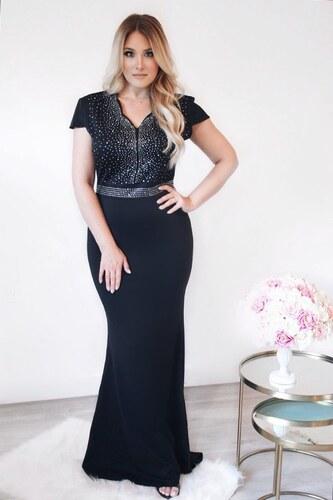 ZAZZA Dlhé spoločenské šaty s krátkym rukávom v čiernej - Glami.sk a24599d0493