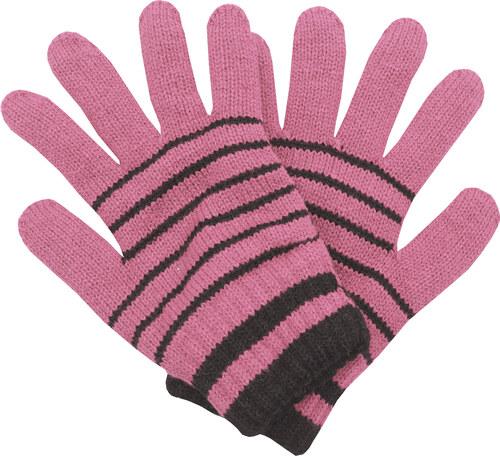 20951861654 Zimní rukavice Pletex 10963 Světle růžová s proužky - Glami.cz