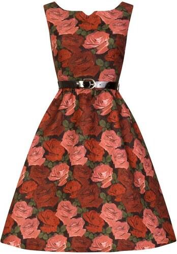 Lindy Bop Nova Červené Šaty S Ružami - Glami.sk 95ee24503fe