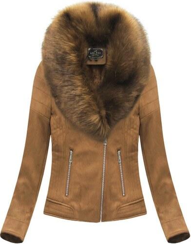 Jejmoda Dámska zamatová zimná bunda 6502BIG karamelová 1 - Glami.sk 15842e59ebf