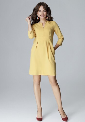 LENITIF Žlté elegantné šaty L004 - Glami.sk c06e5e13570