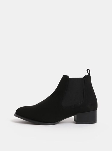 297197e5dd22 Čierne chelsea topánky na podpätku v semišovej úprave OJJU - Glami.sk