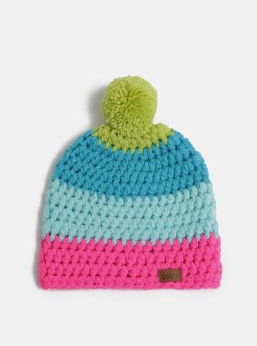 Růžovo-modrá zimní pletená čepice s bambulí DOKE - Glami.cz 7458ee2c7a