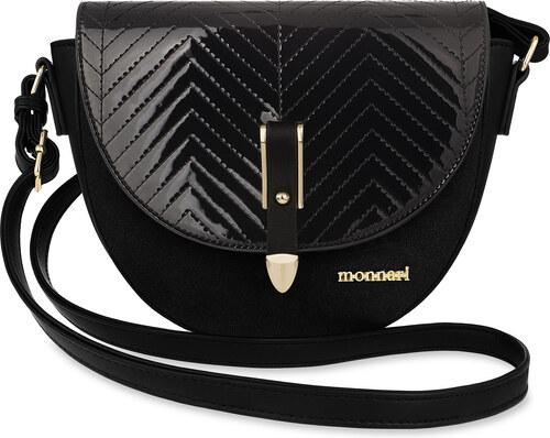 e8bd258379b Klasická listonoška kabelka dámská monnari ozdobné zavírání dekorace - černá