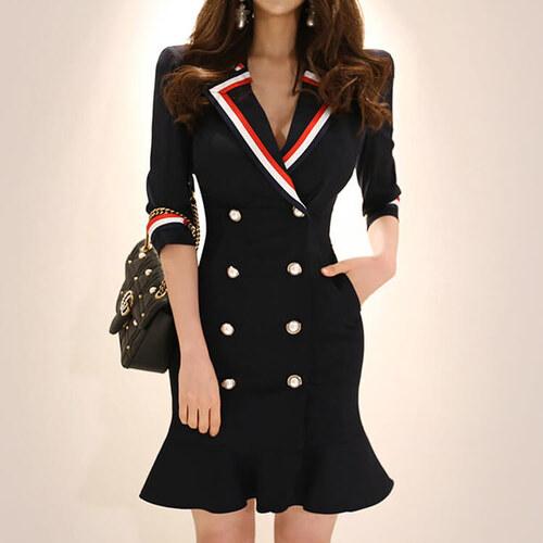 c73c57fa452b Perfect Nádherné Jarní Stylové dámské sako šaty pruhovaný límec a rukávy