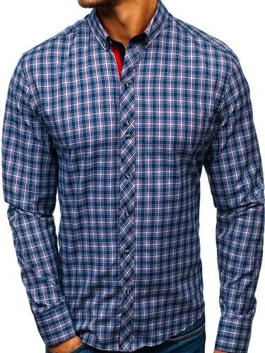 Tmavě modro-červená pánská kostkovaná košile s dlouhým rukávem Bolf 8835 f6663b9088