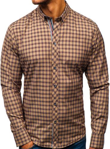 e648570266 Hnedá pánska károvaná košeľa s dlhými rukávmi BOLF 8833 - Glami.sk