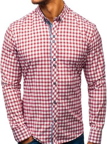 e852089aa747 Bielo-červená pánska károvaná košeľa s dlhými rukávmi BOLF 8833 ...