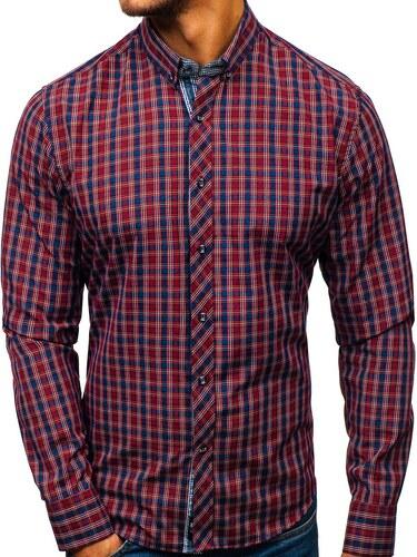 Vínová pánská kostkovaná košile s dlouhým rukávem Bolf 8834 - Glami.cz 8809736c9e