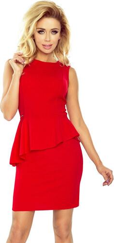 Numoco Elegantné šaty s asymetrickým volánom - červené - Glami.sk 712dec30b9d