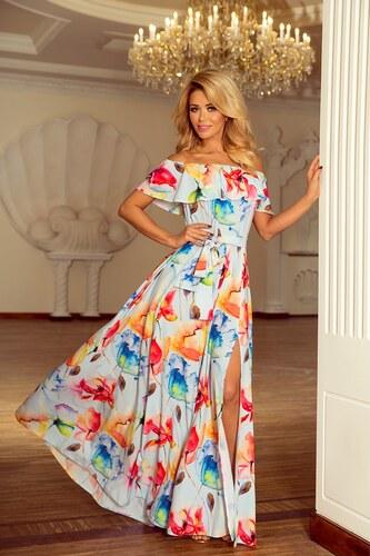 fec07fcfdc06 Numoco Kvetinové maxi šaty s volánom 194-1 - Glami.sk