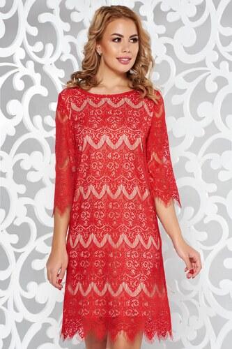 Piros StarShinerS elegáns ruha csipkés anyag belső béléssel - Glami.hu 9767ef54b2