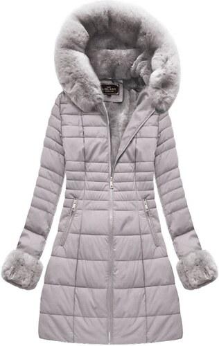 3edd46eba8cb Libland Šedá dámská zimní bunda z ekokůže (5521BIG) - Glami.cz