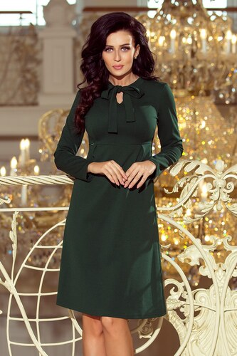 249abe1fe Numoco Trapézové dámske šaty 158-3 OLA - tmavozelené - Glami.sk