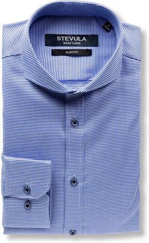 454401d09b64 STEVULA Luxusná modrá slim fit košeľa s tkaným vzorom - Glami.sk