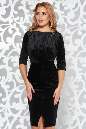 StarShinerS Fekete Artista alkalmi bársony ruha gyöngyös díszítés ... 52d1644f8c