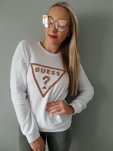 67cdf727db4 -24% Dámská mikina Guess bílá s kamínky   Whitney Crush Pullover white