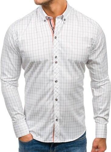 ba431190ff1f Bielo-čierna pánska károvaná košeľa s dlhými rukávmi BOLF 8803 ...