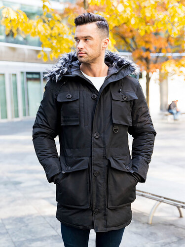 MODANOEMI by escoli Pánska čierna zimná bunda parka s kapucňou a  sivou-čiernou kožušinou 12df5732e32