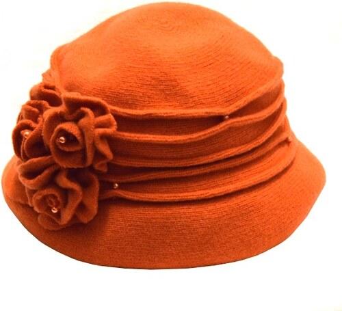 103d1a94603 Karpet Oranžový dámský vlněný klobouk s květinou - Glami.cz