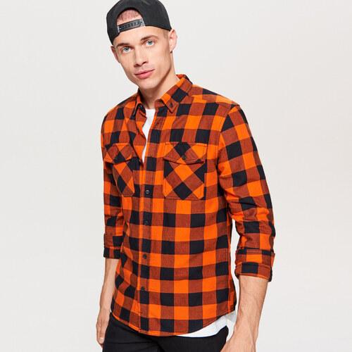 Cropp - Kostkovaná košile - Oranžová - Glami.cz f2a430a276
