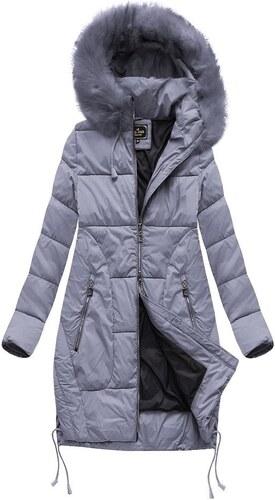 Jejmoda Dámska zimná bunda s kapucňou MODA690 šedo-fialová - Glami.sk aaadadcf12a