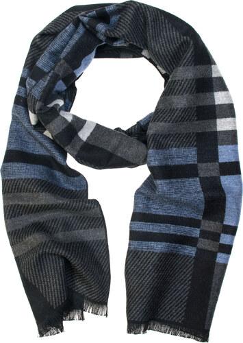 d80649922ad Avantgard Tmavě šedá pruhovaná pánská šála s modrým detailem - Glami.cz