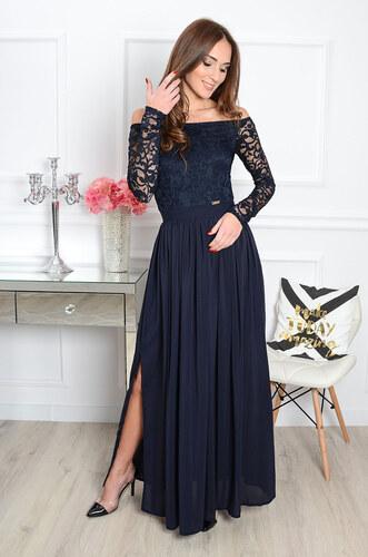 -30% PLANETA-MODY Spoločenské šaty s krajkou Wiktoria CO-34527 tmavomodré 21a88386102