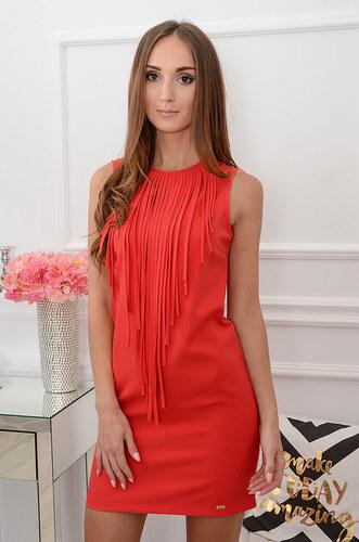 a724ca5107a1 LOLA Fashion Červené šaty so strapcami Nika CO-38645 - Glami.sk
