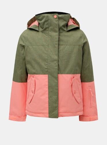 Ružovo–zelená dievčenská lyžiarska nepremokavá zimná bunda Roxy Jetty a52cc0c1956