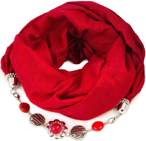 Bijoux Me Kašmírová šála s bižuterií - červená - Glami.cz 95b9849604