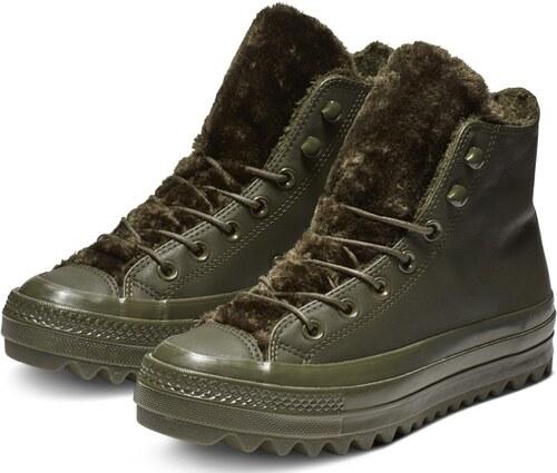 ... Converse khaki kožené členkové tenisky Chuck Taylor All Star Lift  Ripple Hi Utility Green 722135937a