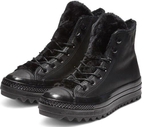 Converse čierne kožené členkové tenisky Chuck Taylor All Star Lift Ripple Hi  Black 91ef1f454f2