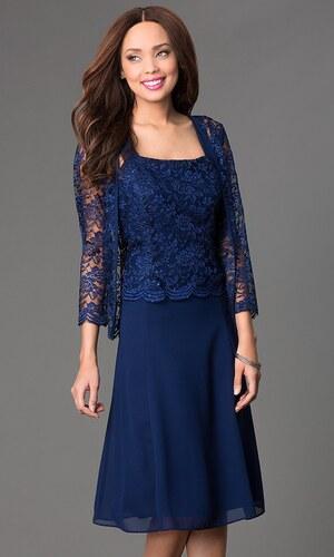 Glamor Tmavomodré spoločenské šaty s čipkovaným kabátikom - Glami.sk 875f8511a9a