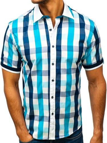 Tyrkysová pánská elegantní kostkovaná košile s krátkým rukávem Bolf 8901 1d45a5047c