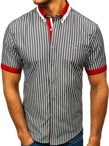 aaa4bbc657 -10% Šedá pánska elegantná károvaná košeľa s krátkymi rukávmi BOLF 4501