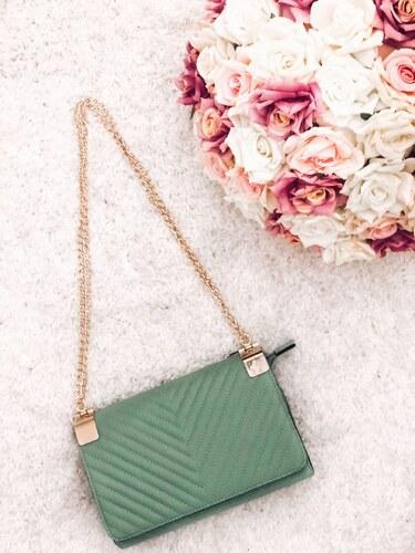 ff54dbeddf ZAZZA Svetlo-zelená kabelka na rameno so zlatou reťazou - Glami.sk