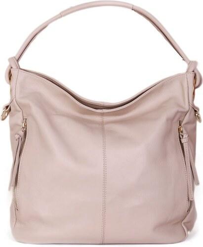 -14% ITALSKÉ Béžové dámské kožené kabelky velké Salvare 6f627788be