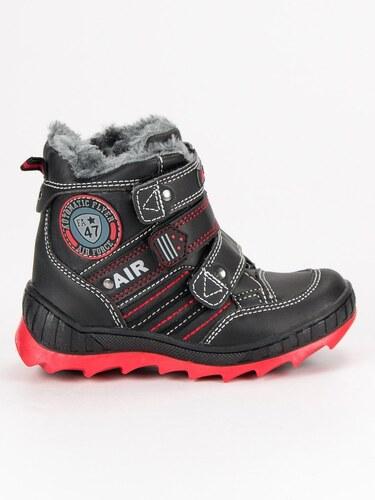 AMERICAN CLUB Modní černé chlapecké zimní boty na suchý zip - Glami.cz fe5d74c7ff
