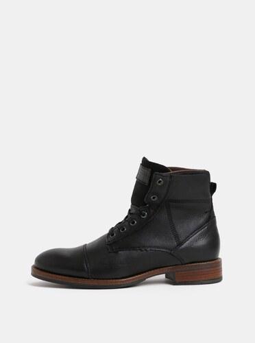 Čierne pánske kožené členkové topánky Bullboxer - Glami.sk 037b64107a7